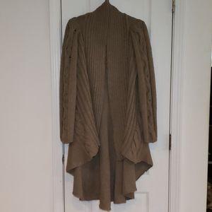 Kenar Long Line Alpaca Wool Blend Open Cardigan L